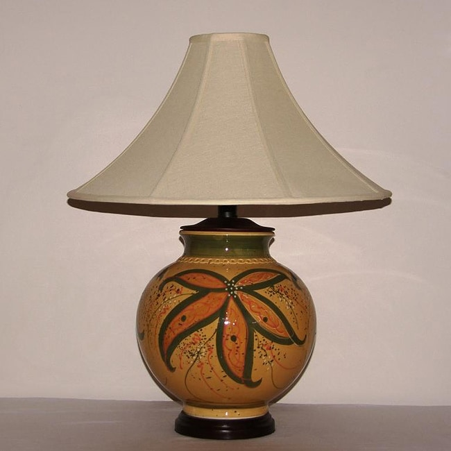 Honey Mustard with Green Floral Accent Ceramic Table Lamp with Tan Coolie Lamp Shade