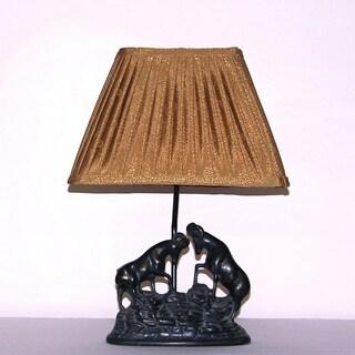 Dark Bronze 1-light Dueling Rams Table Lamp