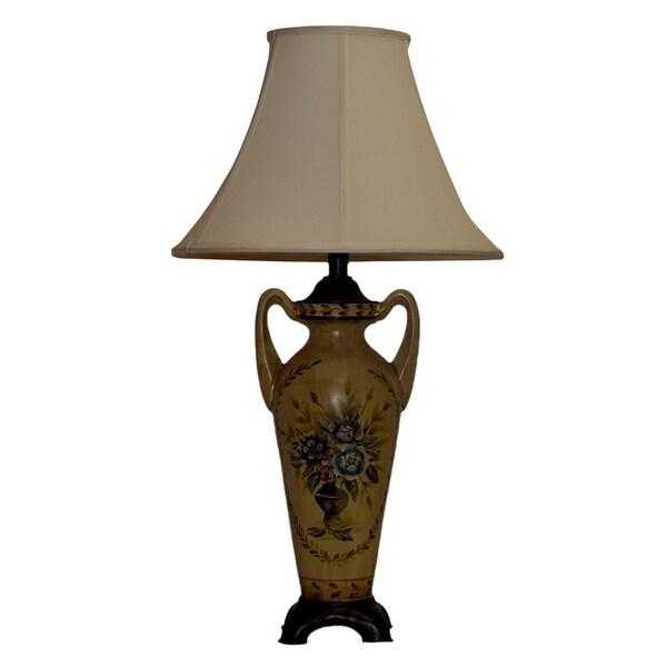Beige Floral Medallion Table Lamp
