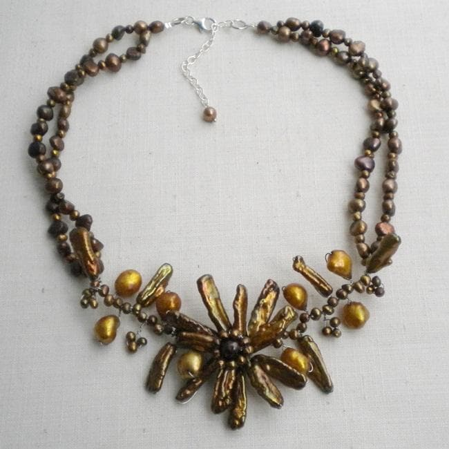 Handmade Sterling Silver Pearl Floral Beaded Necklace (4-21 mm) (Thailand)
