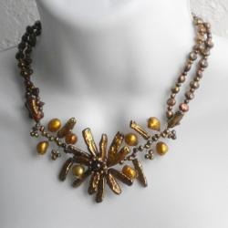 Handmade Sterling Silver Pearl Floral Beaded Necklace (4-21 mm) (Thailand) - Thumbnail 1