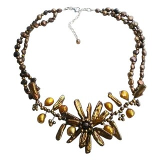 Handmade Brown Pearl (Dyed) Floral Beaded Necklace (Thailand)