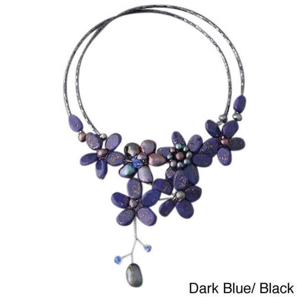 Handmade Lapis/ Black Onyx and Pearl Cluster Choker (4-10 mm) (Thailand)