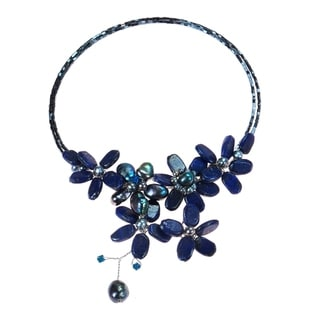 Handmade Lapis And Black Pearl Floral Choker Necklace Thailand