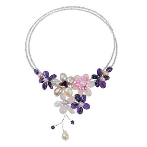 Handmade Amethyst/ Rose Quartz and Pearl Cluster Choker (Thailand) - Purple