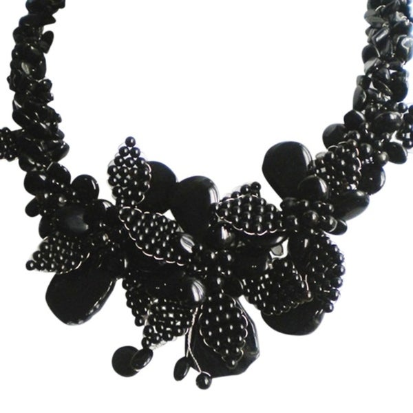 Handmade Black Agate and Onyx Floral Bouquet Necklace (Thailand)
