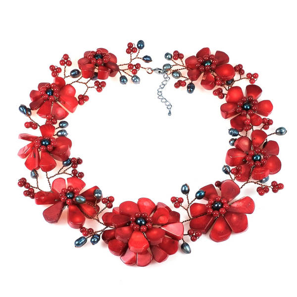 Shop Copper Wire Synthetic Coral Pearl Stone Floral Red Necklace ...