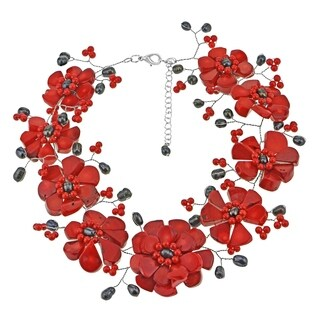 Copper Wire Synthetic Coral Pearl Stone Floral Red Necklace (Thailand)