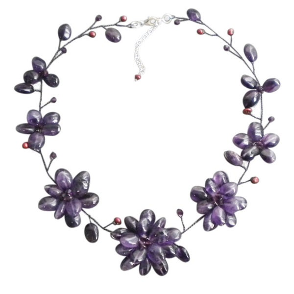 Amethyst and Pearl Floral Necklace (5-7 mm) (Thailand)