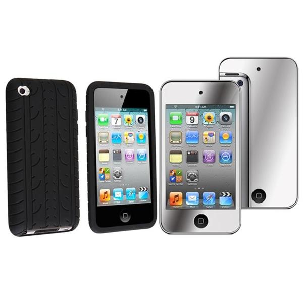 Tire Tread Case/ Mirror Screen Protector for Apple iPod Touch 4