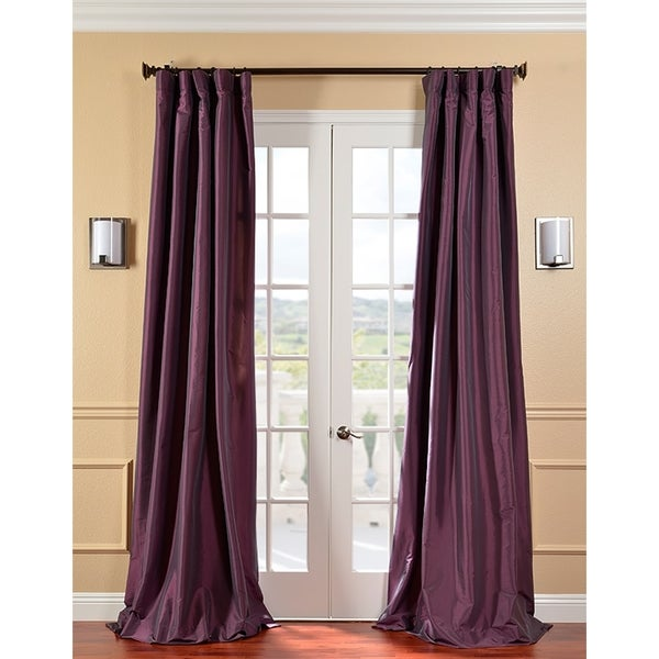 Exclusive Fabrics Solid Faux Silk Taffeta Dahlia 96-inch Curtain Panel