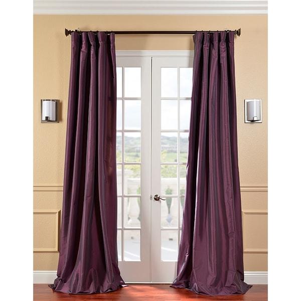 Exclusive Fabrics Solid Faux Silk Taffeta Dahlia Curtain Panel