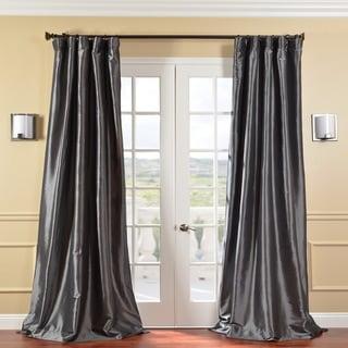 Exclusive Fabrics Solid Faux Silk Taffeta Graphite 84-inch Curtain Panel