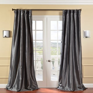 Exclusive Fabrics Solid Faux Silk Taffeta Graphite 96-inch Curtain Panel