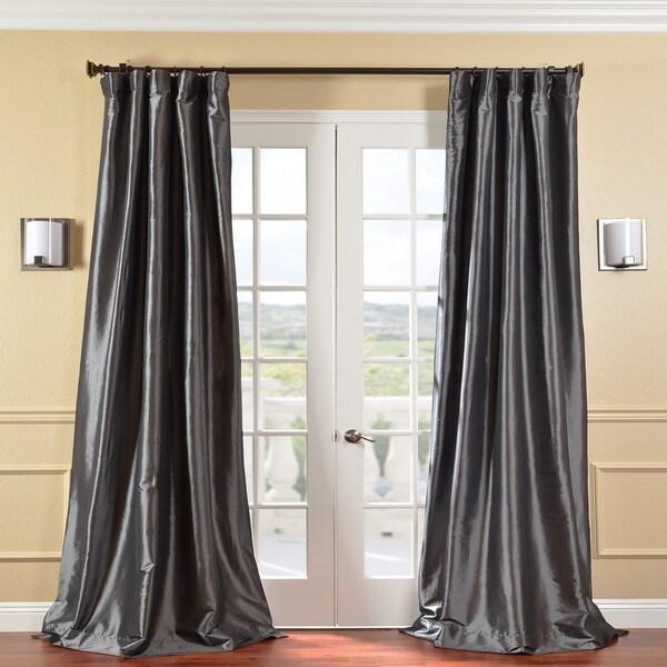 Exclusive Fabrics Solid Faux Silk Taffeta Graphite 96-inch Curtain Panel