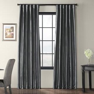 Exclusive Fabrics Solid Faux Silk Taffeta Graphite Single Curtain Panel