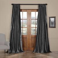 Exclusive Fabrics Solid Faux Silk Taffeta Graphite Curtain Panel