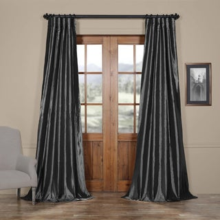 Exclusive Fabrics Solid Faux Silk Taffeta Graphite Single Curtain Panel