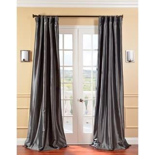 Exclusive Fabrics Solid Faux Silk Taffeta Graphite 120-inch Curtain Panel