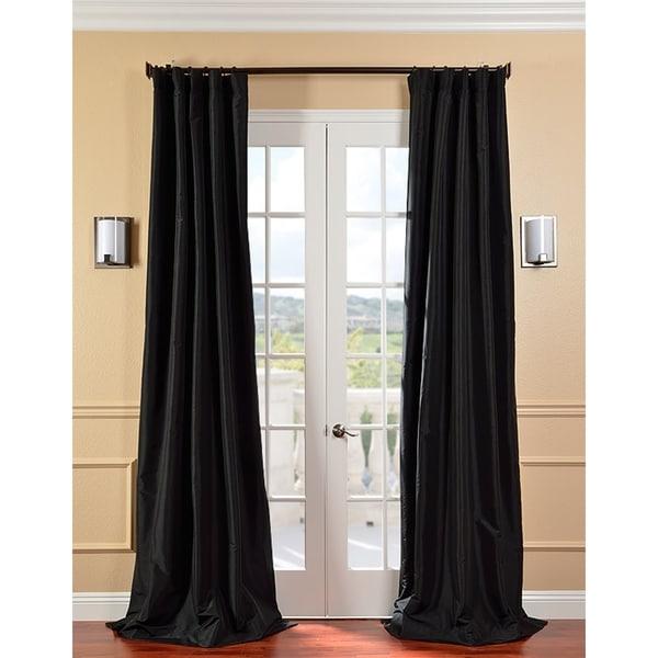 Exclusive Fabrics Solid Faux Silk Taffeta Jet Black 84-inch Curtain Panel