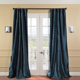 Exclusive Fabrics Solid Faux Silk Taffeta Mediterranean 84-inch Curtain Panel