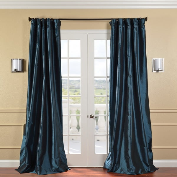 Exclusive Fabrics Solid Faux Silk Taffeta Mediterranean 84-inch Curtain Panel
