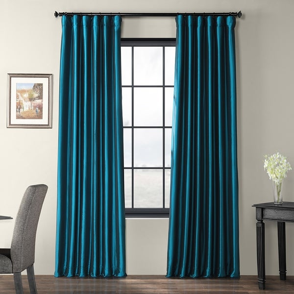 Exclusive Fabrics Solid Faux Silk Taffeta Mediterranean Curtain Panel. Opens flyout.