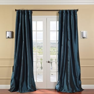 Exclusive Fabrics Solid Faux Silk Taffeta Mediterranean 108-inch Curtain Panel