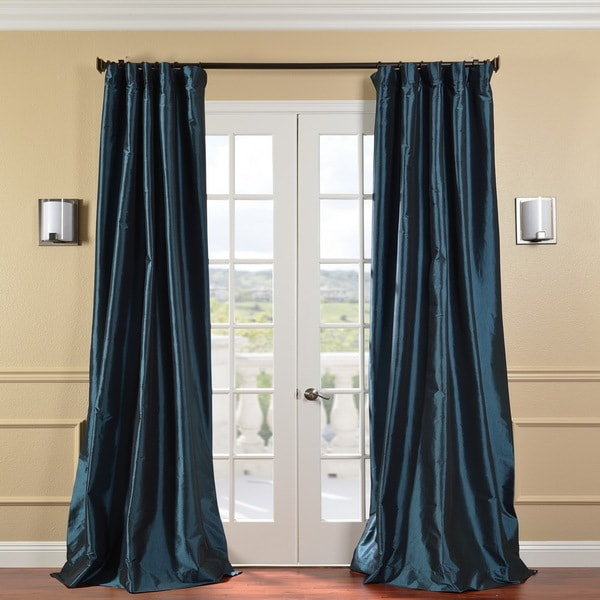 Exclusive Fabrics Solid Faux Silk Taffeta Mediterranean 108-inch Curtain Panel
