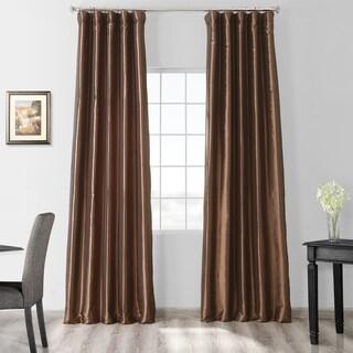 Exclusive Fabrics Solid Faux Silk Taffeta Mushroom Curtain Panel