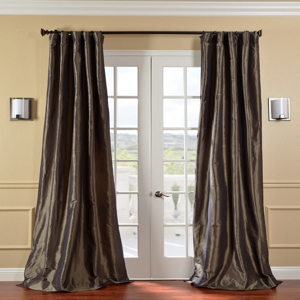 Exclusive Fabrics Solid Faux Silk Taffeta Mushroom 96-inch Curtain Panel