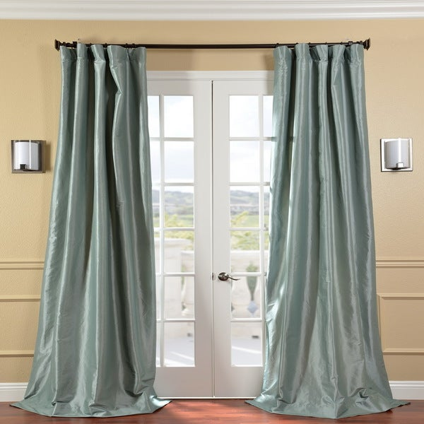 Exclusive Fabrics Solid Faux Silk Taffeta Robin's Egg 96-inch Curtain Panel