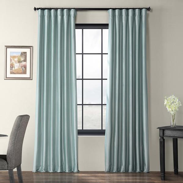 16610fa6a04 Exclusive Fabrics Solid Faux Silk Taffeta Robin  x27 s Egg Curtain Panel