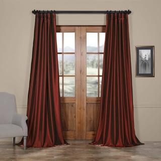 Exclusive Fabrics Solid Faux Silk Taffeta Syrah Curtain Panel