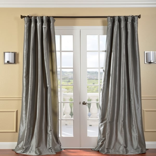 Exclusive Fabrics Solid Faux Silk Taffeta Platinum 96-inch Curtain Panel