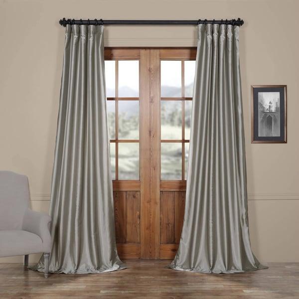 Exclusive Fabrics Solid Faux Silk Taffeta Platinum Curtain Panel