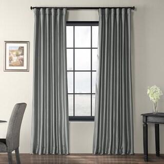 Exclusive Fabrics Solid Faux Silk Taffeta Platinum Single Curtain Panel