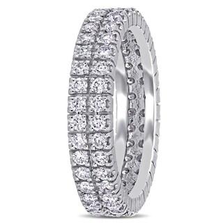 Miadora Signature Collection 14k White Gold 1ct TDW Diamond Double Row Eternity Ring
