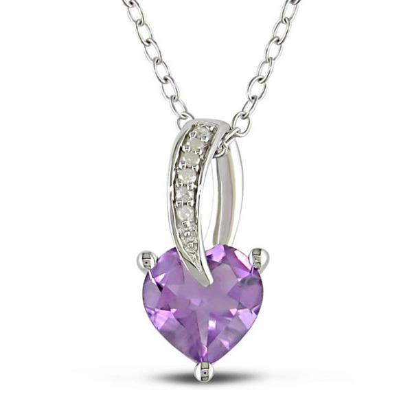Miadora Sterling Silver Amethyst and Diamond Accent Necklace