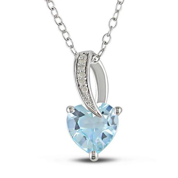 M by Miadora Sterling Silver Blue Topaz and Diamond Accent Necklace