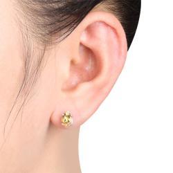 Miadora Silver Citrine and Diamond Accent Earrings