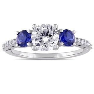 Miadora 10k White Gold Created Sapphire and Diamond Ring