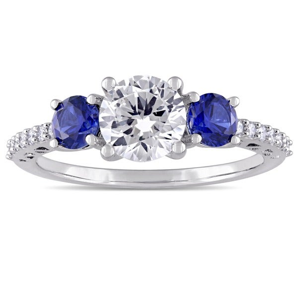 Miadora 10k White Gold Created Sapphire and Diamond Ring