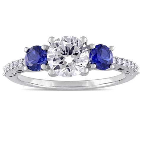 Created Blue and White Sapphire Diamond 3-Stone Ring in 10k white Gold by Miadora