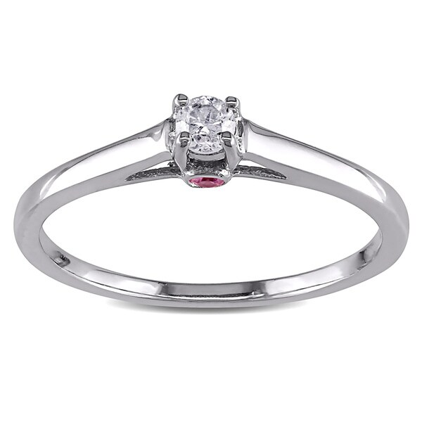 Miadora Sterling Silver 1/10ct TDW Diamond and Pink Sapphire Ring (G-H, I2-I3