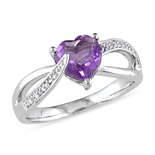 Miadora Sterling Silver Amethyst and Diamond Accent Heart Ring. Opens flyout.