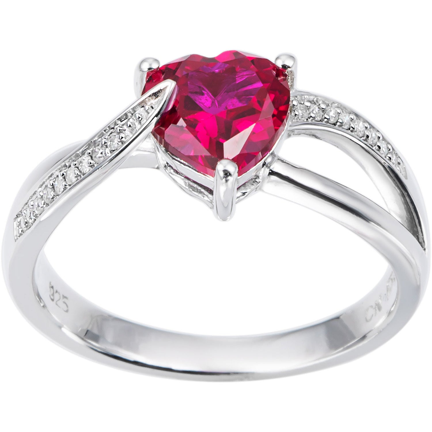 Miadora Sterling Silver Birthstone and Diamond Accent Hea...