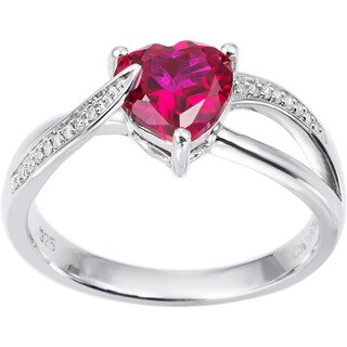 Miadora Sterling Silver Birthstone and Diamond Accent Heart Ring (More options available)