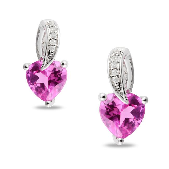 Miadora Sterling Silver Created Pink Sapphire and Diamond Accent Earrings