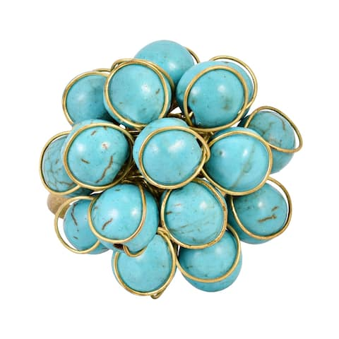 Handmade Brass and Turquoise Cluster Ring (Thailand)